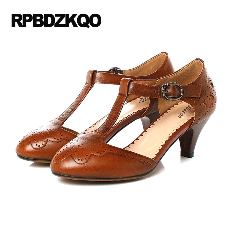 5cm 2 Inch T Strap Pumps Low Brown 9 40 Ladies Kitten Heels Shoes 2017 High  Round Toe Casual Bar Brogue Big Size Autumn Leisure a23e01f7a50a