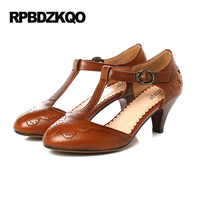 5cm 2 Inch T Strap Pumps Low Brown 9 40 Ladies Kitten Heels Shoes 2017 High Round Toe Casual Bar Brogue Big Size Autumn Leisure