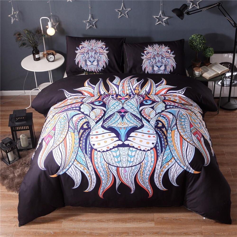 Microfiber Boho Style Printed Elephent Pattern Lightweight Duvet Cover Set Bedding Collection,Black Lion