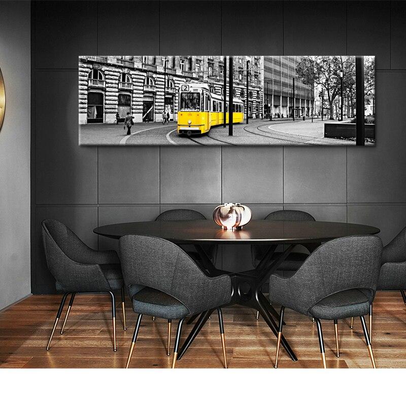 Paysage nordique mode toile peinture affiche Style Pastoral jaune Tram mur photo pour salon décor à la maison scandinave