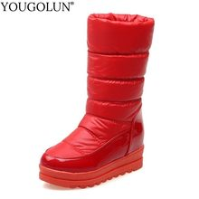 Flat Platform Snow Boots Women Winter Mid-Calf Boots Lady Flat With A280 Warm Shoes Woman Black Red Bluew White Round Toe Boots(China)