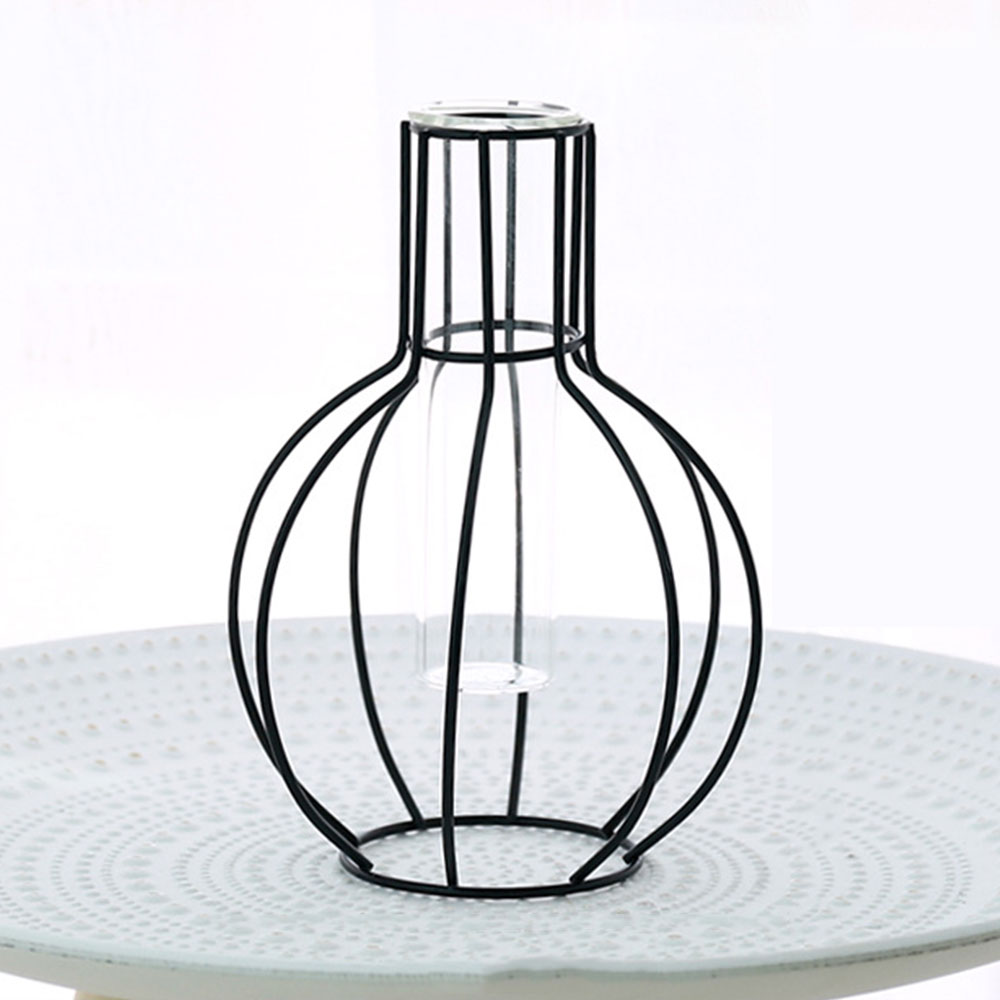Цветочный горшок подставка для цветов кованая железная ваза гидропонная ваза Геометрическая креативная железная стеклянная - Цвет: 1