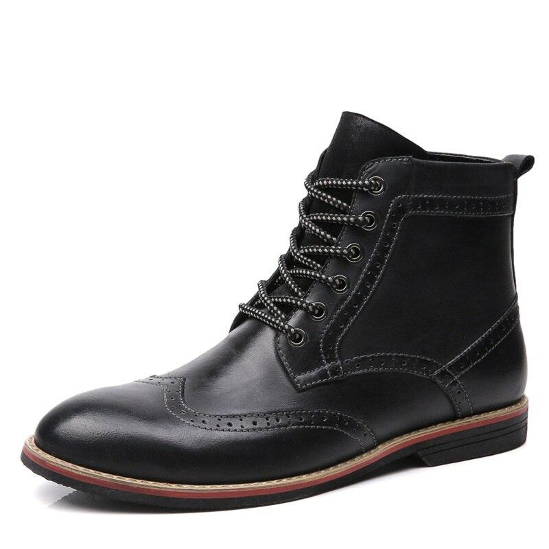 Chaussures Plein Automne Noir rouge Cuir Doux marron Plate Cowboy Bottes Hommes Air forme Véritable Printemps Aa20206 Classique En htsdCrQ