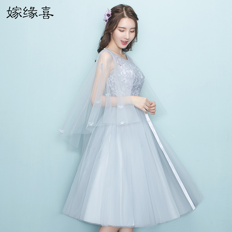 2017 new   Bridesmaid     Dresses   plus size stock cheap under $50 sexy romantic sister simple elegant tea length grey silver JYX968GZ