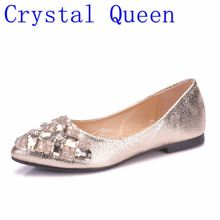 Crystal Queen Women Shoes Rhinestone Pointed Toe Flats With Diamond Women  Shoes Women s Crystal Luxury Flats 688f0dc1be16