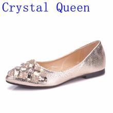 2b622300200 Crystal Queen mujeres rhinestone pisos en punta del dedo del pie con las  mujeres del diamante