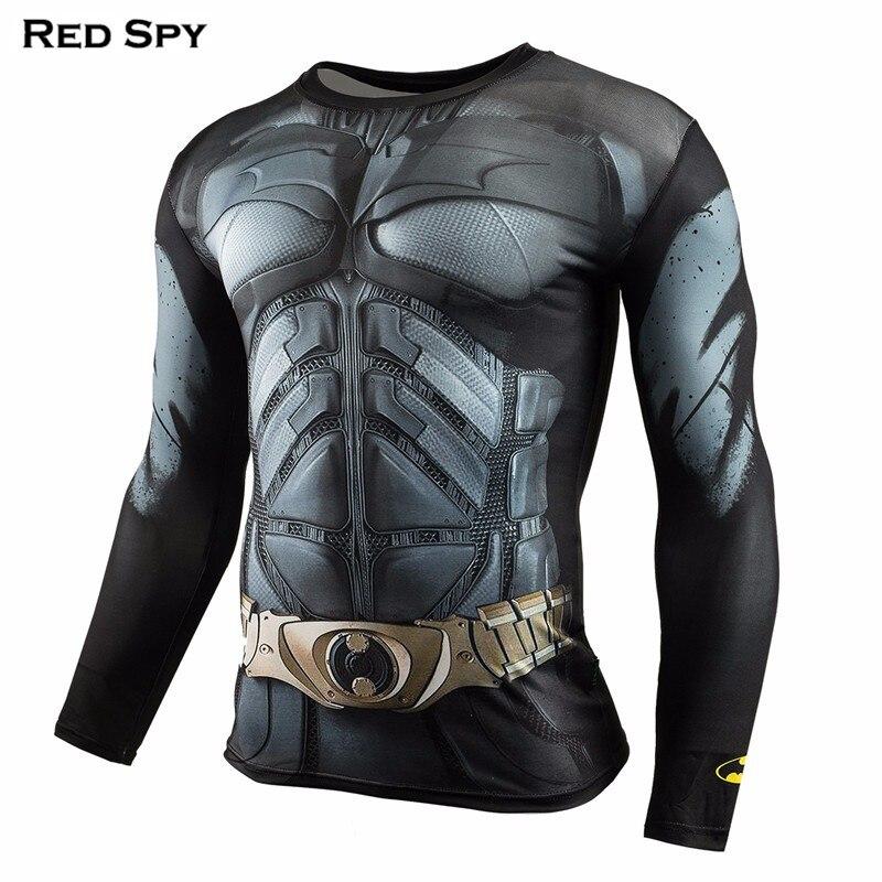 REDSPY Store Gyms Clothing Fitness Compression Shirt Men Superman Batman winter soldie Bodybuilding Long Sleeve 3D T Shirt Crossfit Super Top