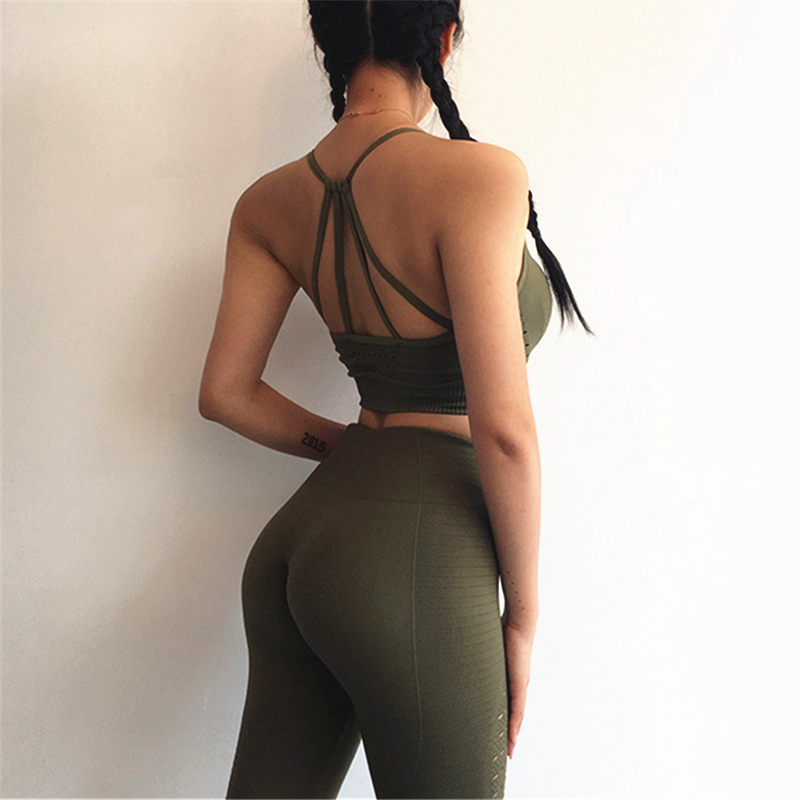 Oyoo Seamless Yoga Sets Olive Fitness Clothing High Waist Gym Leggings Women Red Padded Sports Bra Top 2 Pcs Sport SuitsOyoo Seamless Yoga Sets Olive Fitness Clothing High Waist Gym Leggings Women Red Padded Sports Bra Top 2 Pcs Sport Suits