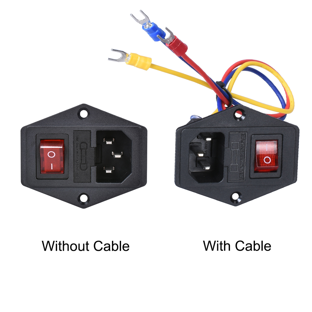 15A 250V Power switch AC 3pin AC power socket with red triple Rocker Switch tripod feet of copper with fuse for 3d printer