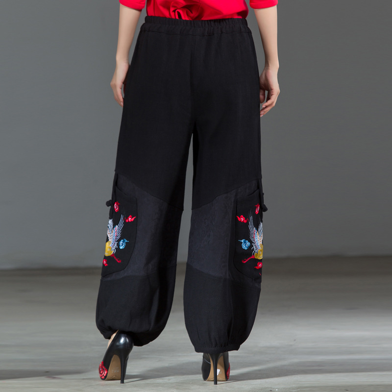 Nouvelle Black Patchwork L Femmes Arrivée Large Noir Pantalon xxl Florale Traditionnel Chinois Taille Broderie Jambe Élastique qSYqw1g