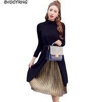 İlkbahar Sonbahar Kadınlar Yeni Uzun Pilili Etek Iki Parçalı Kış Oldu Ince Uzun kollu Elbise Etek Moda Eğlence takım Etek A0215