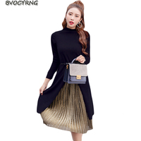Spring Autumn Women New Long Pleated Skirt Two Piece Winter Was Slim Long sleeved Suit Skirt Fashion Leisure Suit Skirt A0215