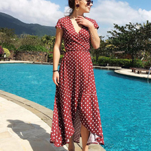 2019 Summer Sexy Polka Dots Chiffon Long Dresses Women Red Black Purple Yellow Beach Style Maxi Dress Female Vestidos Plus Size стоимость