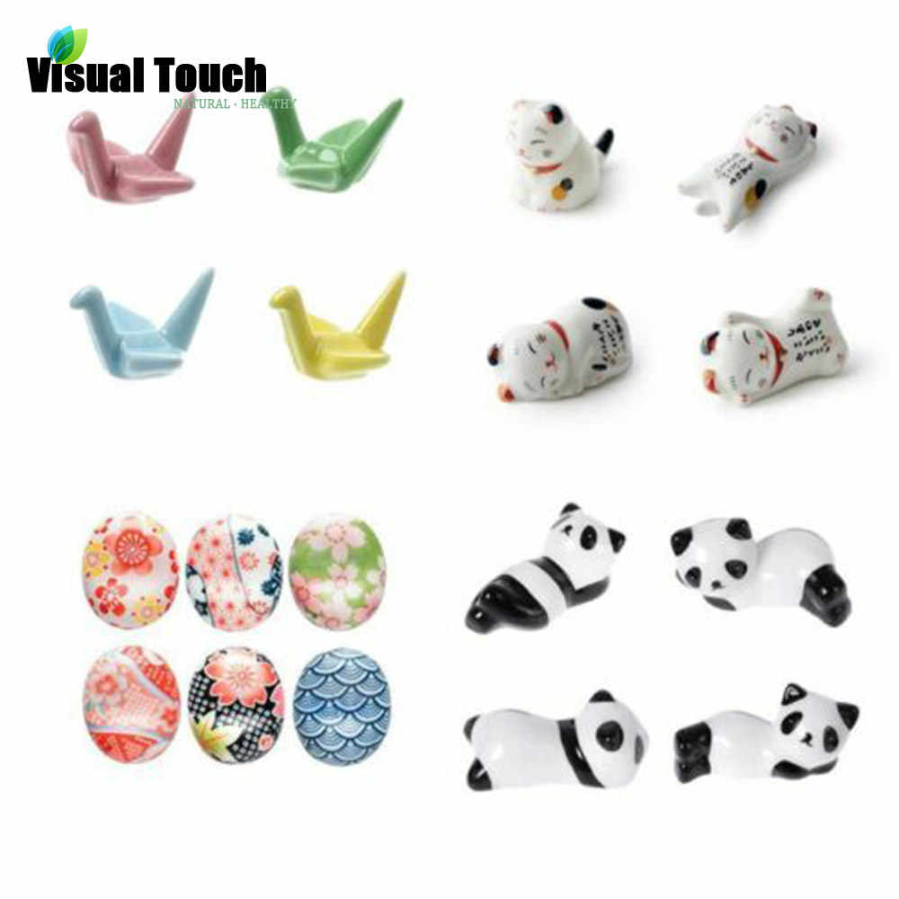 Visual Touch Japanese Style Ceramic Chopsticks Holder Stand Cute Chopstick Rack Pillow Care Rest Kitchen Art Craft Tableware N