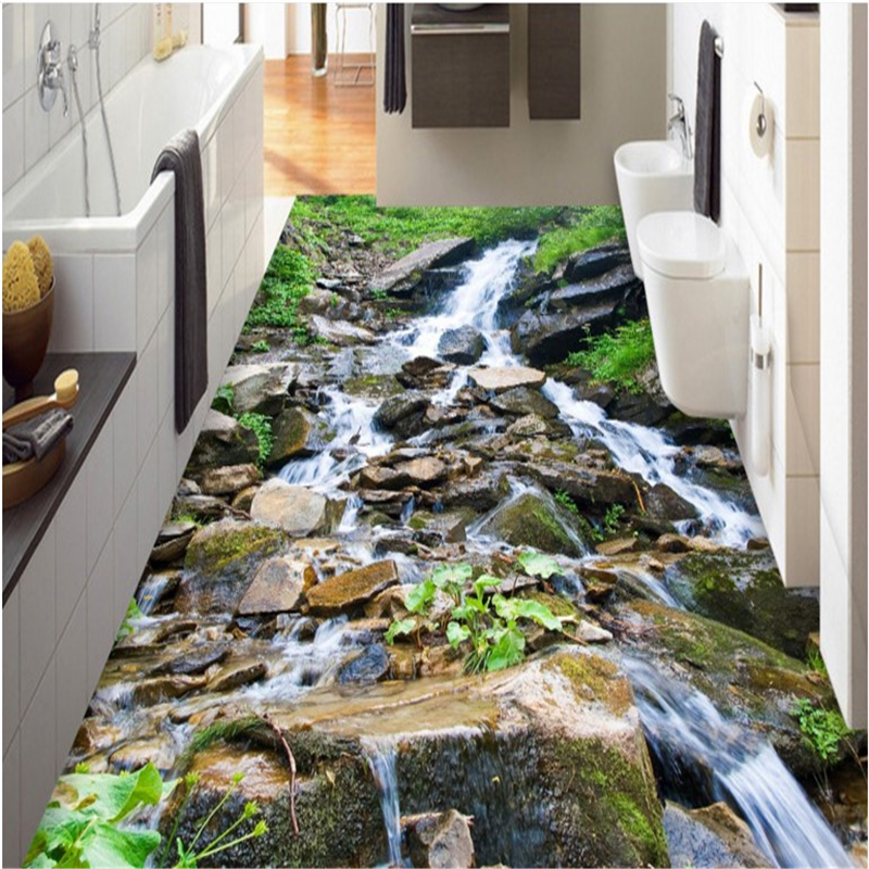 beibehang custom paste 3D outdoor mountain streams pebble landscape tiles three-dimensional painting bathroom kitchen stickers бокорез three mountain in japan sn130 3 peaks
