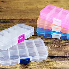 Adjustable Transparent Plastic Storage Box for Small Component 10 Grids Jewelry Tool Box Bead Pills Organizer Nail Art Tip Case недорого