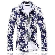 Plus size 5XL 6XL shirt men Fashion Floral Long Sleeve Shirt Fall Male Casual fat Cotton Printed Hawaiian Shirts Hot Sale