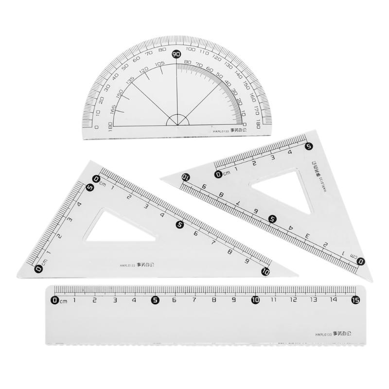 Students Drawing School Supplies Set Square Triangle Ruler Protractor Ruler Suit