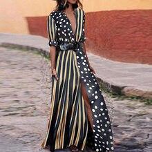 Bohemian Summer Sexy Patchwork Long Maxi Dress Women Deep V Neck Sashes Swing Dots Party Shirt Plus Size 3xl