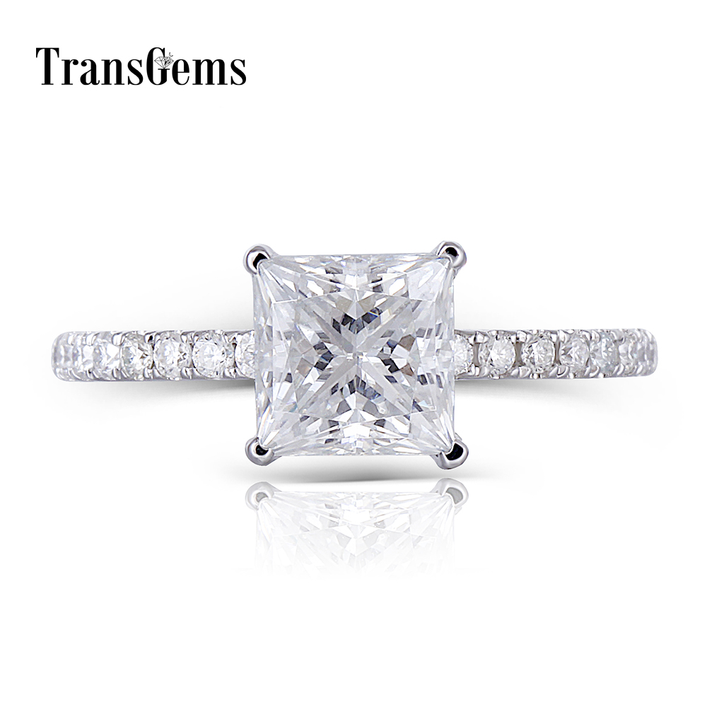 1Transgems 18K 750 White Gold Princess Cut FG Color Moissanite 6.5MM 1.5CT Under Halo Engagement Ring for Women with Accents yoursfs 18k white gold plated austria crystal soliraire anniverary rings with princess cut