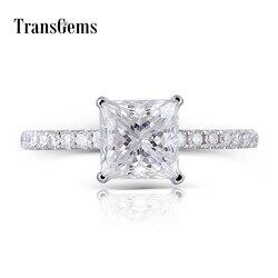 Transgems 14K 585 beyaz altın prenses kesim F renk Moissanite 6.5MM 1.5CT altında Halo nişan yüzüğü kadınlar için vurgular