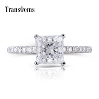 Transgems 14K 585 White Gold Princess Cut F Color Moissanite 6.5MM 1.5CT Under Halo Engagement Ring for Women with Accents