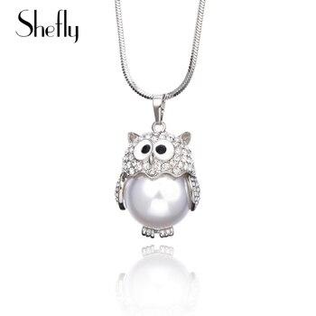 134dbb0b6da9 Collar único de búho para mujer perla CZ cristal lindo Animal colgante y  collar Color plata joyería de modo Trui Keten