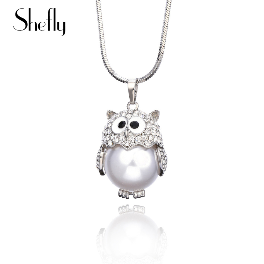 Women Round Owl Pendant Choker Silver Chain Necklace For Accessories Jewelry