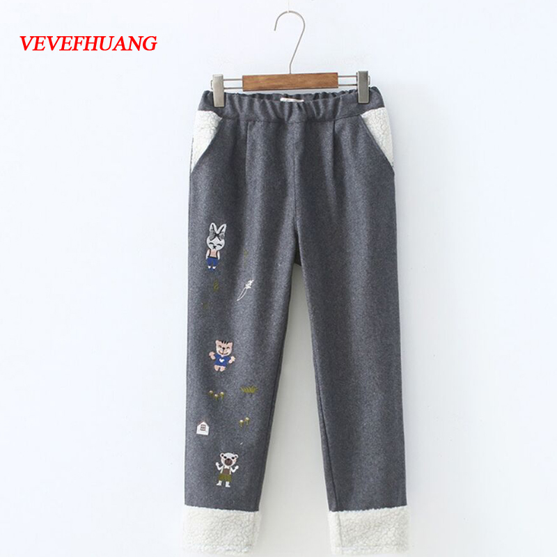 New Japanese Mori Girl Woolen Ankle-Length Pants Autumn Winter Lovely Cartoon Embroidery Female Warm Elastic Waist Haren Pants