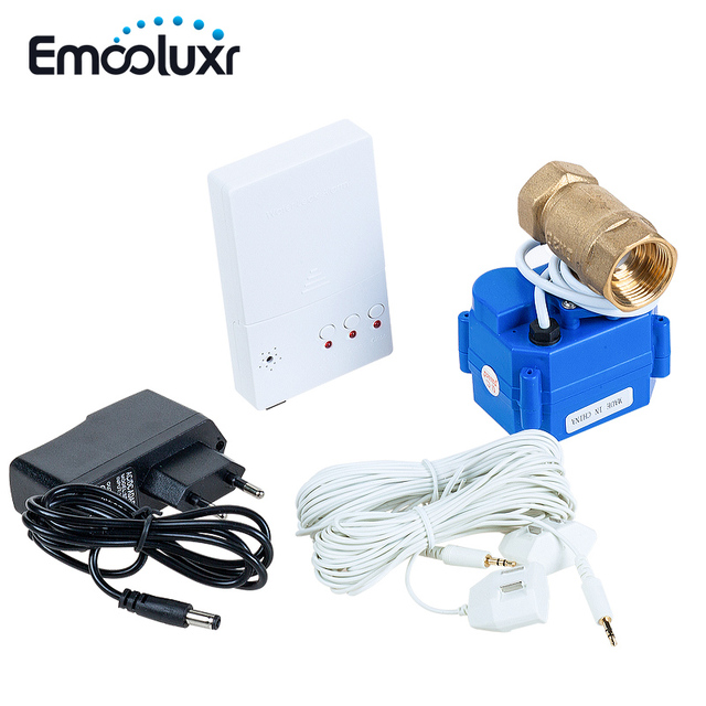 Сигнализация утечки воды, датчик утечки воды, оборудование для сигнализации с клапаном 1/2 дюйма и 2 шт. проводов датчика 6 м, встраиваемый Штепсель Европейского/американского стандарта