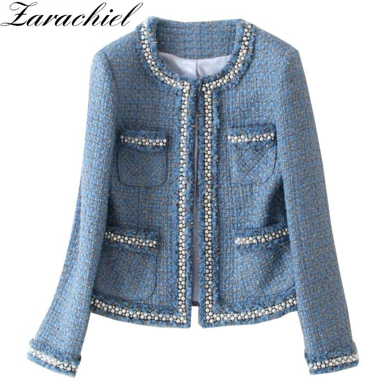 Zarachiel Blue Tweed Jacket Coat 2019 Autumn Women s Beading Long Sleeve Woolen Fringed Trim Tassels