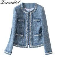 Chaqueta de Tweed azul de pasarela para mujer, chaqueta de manga larga con cuentas, de lana con flecos, borlas, bolsillo de perlas, Otoño, 2021