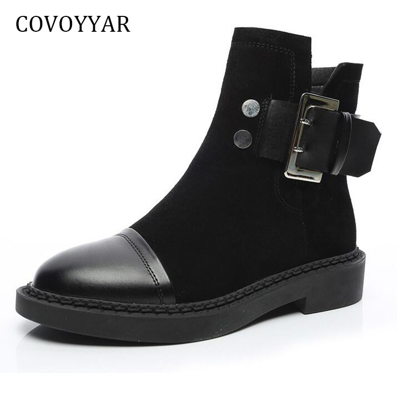 COVOYYAR Women Ankle Boots 2018 Autumn Winter British Buckle Martin Boots Low Heel Women Black Motorcycle Shoes WBS386 women martin boots 2017 autumn winter punk style shoes female genuine leather rivet retro black buckle motorcycle ankle booties