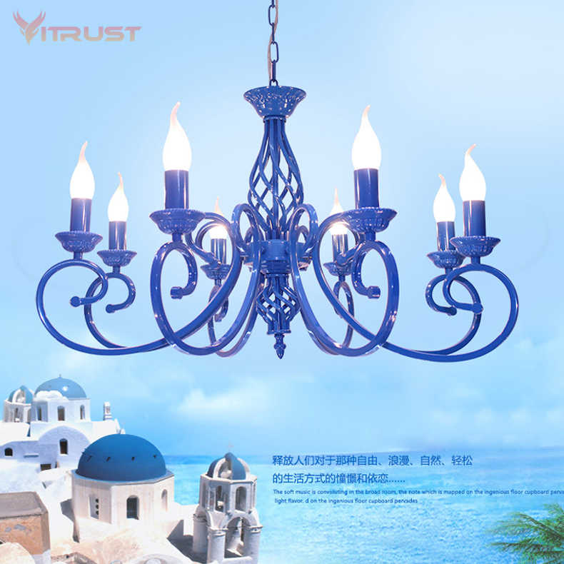 Nordic metal pandent chandelier lamp 3/5/6/8 lights Nordic Hanging Lamps Living Room Dining Bedroom Large Blue Romantic Luminari