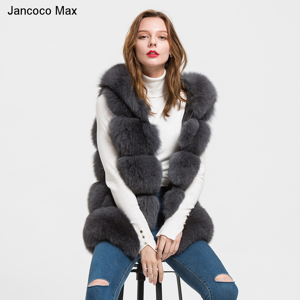 Jancoco Max 2018 À Capuchon D'hiver de Renard Véritable Gilet De Fourrure De Femmes Gilet Filles Dames De Fourrure De Mode Gilet Manteau S1715
