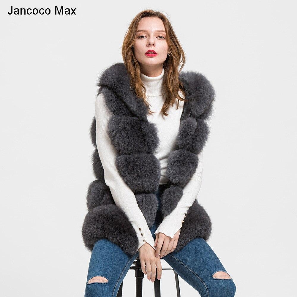 Jancoco Max 2018 di Volpe Con Cappuccio Genuine Gilet di Pelliccia di Inverno delle Donne Gilet Ragazze di Modo Delle Signore Gilet di Pelliccia Cappotto S1715