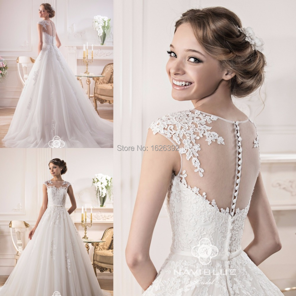 Elegant Romantic White Tulle Wedding Dresses See Through Boat Neck ...