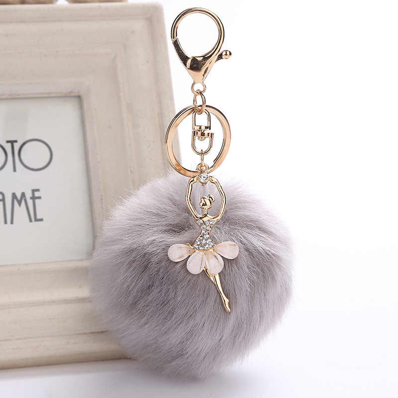 New Dancing Angel Girl Fluffy Pompom Keychains for Keys Rabbit Fur Ball Women Bag Charms Jewelry Gift Pompons Bag Accessories