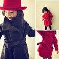 2016 Корейский зимней одежды для девочек пальто шерстяное пальто утолщение двойной слой детей clothing мода твердые девушки верхняя одежда пальто