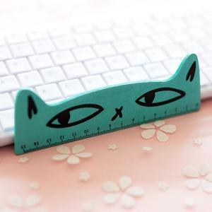 15 سنتيمتر الحلوى الطازجة اللون لطيف القط مسطرة خشبية قياس مسطرة مستقيمة أداة الترويجية هدية القرطاسية