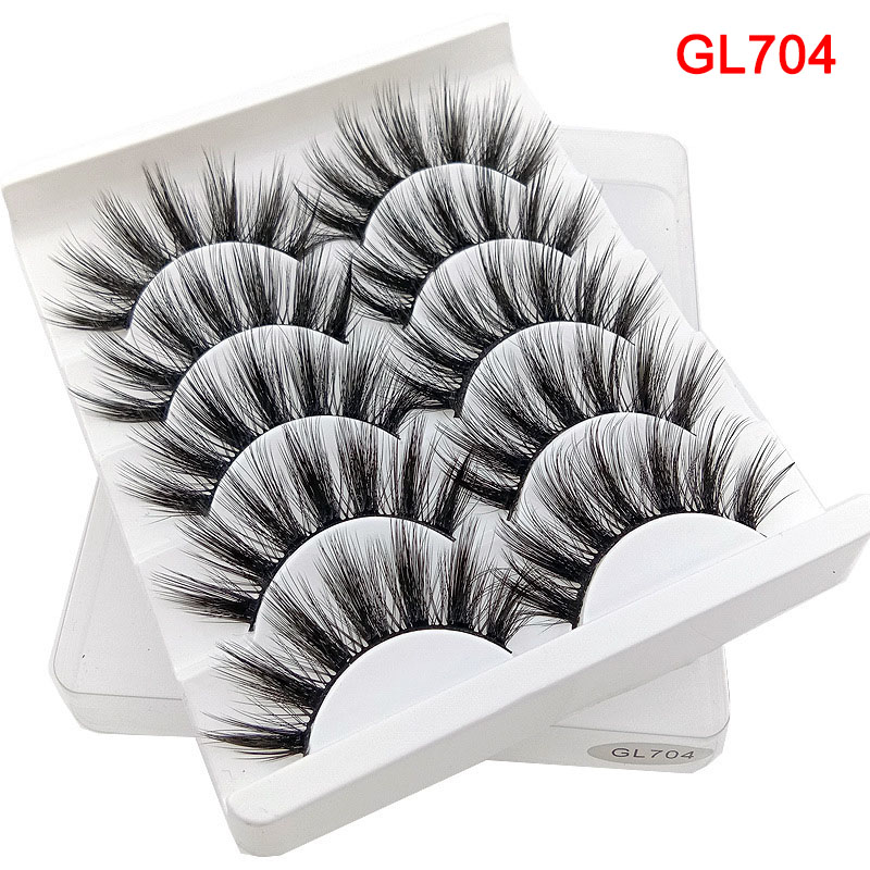 5 Pairs Pack 3D Thick And Soft Fake Eyelashes False Lashes Black Nature Fluffy Long Reusable  JIU55