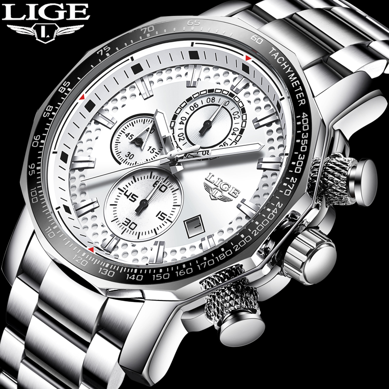 Nova LIGE Relógio Dos Homens de Moda Top Marca de luxo Relógio Dos Homens de Aço Inoxidável Cronógrafo de Quartzo Analógico Militar À Prova D' Água + Caixa