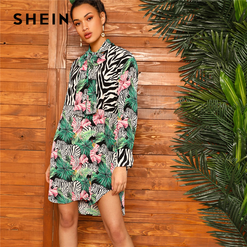 074fbea9a5 SHEIN Multicolor Tie Neck Zebra and Tropical Print Curved Hem Straight  Dress Women Spring 2019 Stand