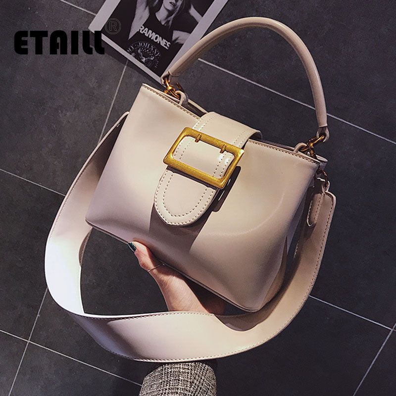 где купить ETAILL Women PU Leather Bucket Handbags Top Handle Wide Strap Shoulder Crossbody Bags Ladies Designer Tote Bags Bolsa Feminina по лучшей цене