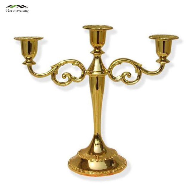 10pcs Lot Silver Gold Candlestick Candle Holders 3 Arms Stand Zinc Alloy High Quality Pillar For Wedding Portavelas Candelabras