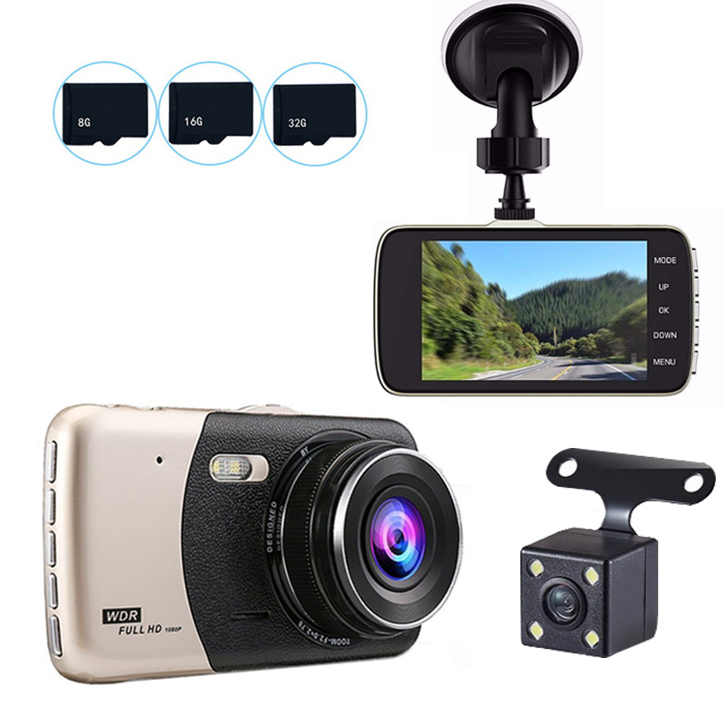 Car-Dvr-Camera Dash-Cam 4inch Video Dual-Lens Night-Vision Auto Full-Hd 1080P Front Infrared