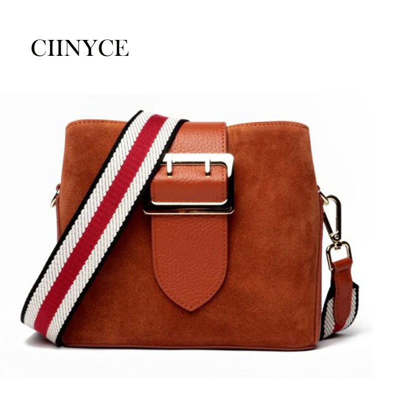 Suede Bucket Messengerr Women with Buckle Woman Purses and Cow Leather Handbags Shoulder Bag Cross Body Purse with 2 Straps fashionable women s sandals with cross straps and pu leather design
