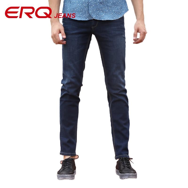 ERQ Men MId-waist Jeans Pencil Pants Stretch Jeans Brand Casual Slim Fit Pants Skinny Boys Male Denim Biker Full Length 903011F  цена