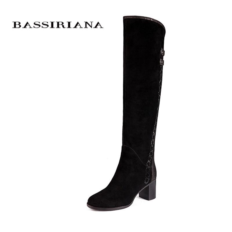 Bottes en cuir véritable sur le genou femmes chaussures d'hiver femme noir daim Zip 35 40 haute qualité livraison gratuite BASSIRIANA-in Cuissardes from Chaussures    1
