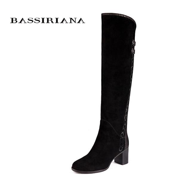 Over-the-ginocchio Del cuoio Genuino stivali donne Inverno scarpe donna camoscio Nero Zip 35-40 di Alta qualità spedizione gratuita BASSIRIANA